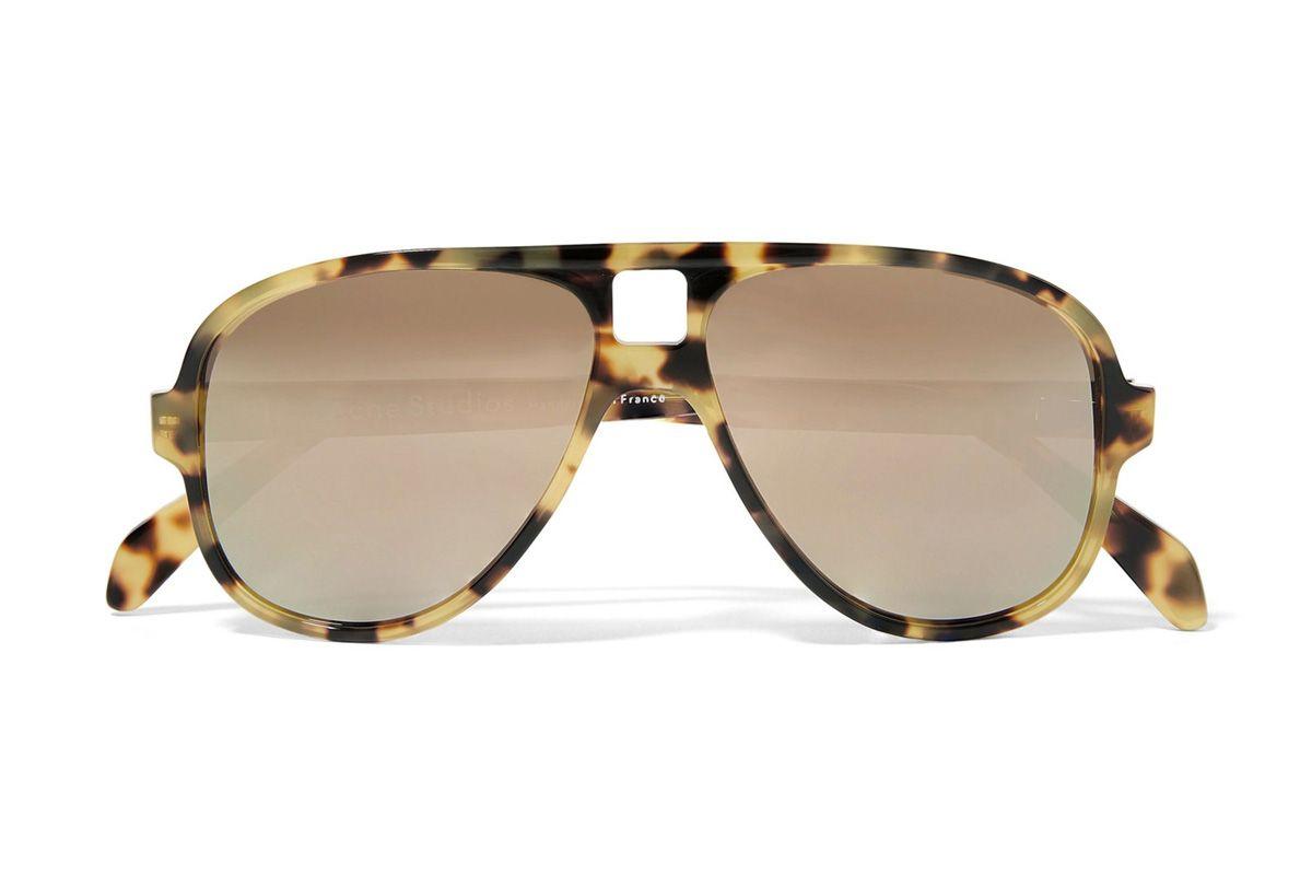 acne studios hole aviator style tortoiseshell acetate mirrored sunglasses