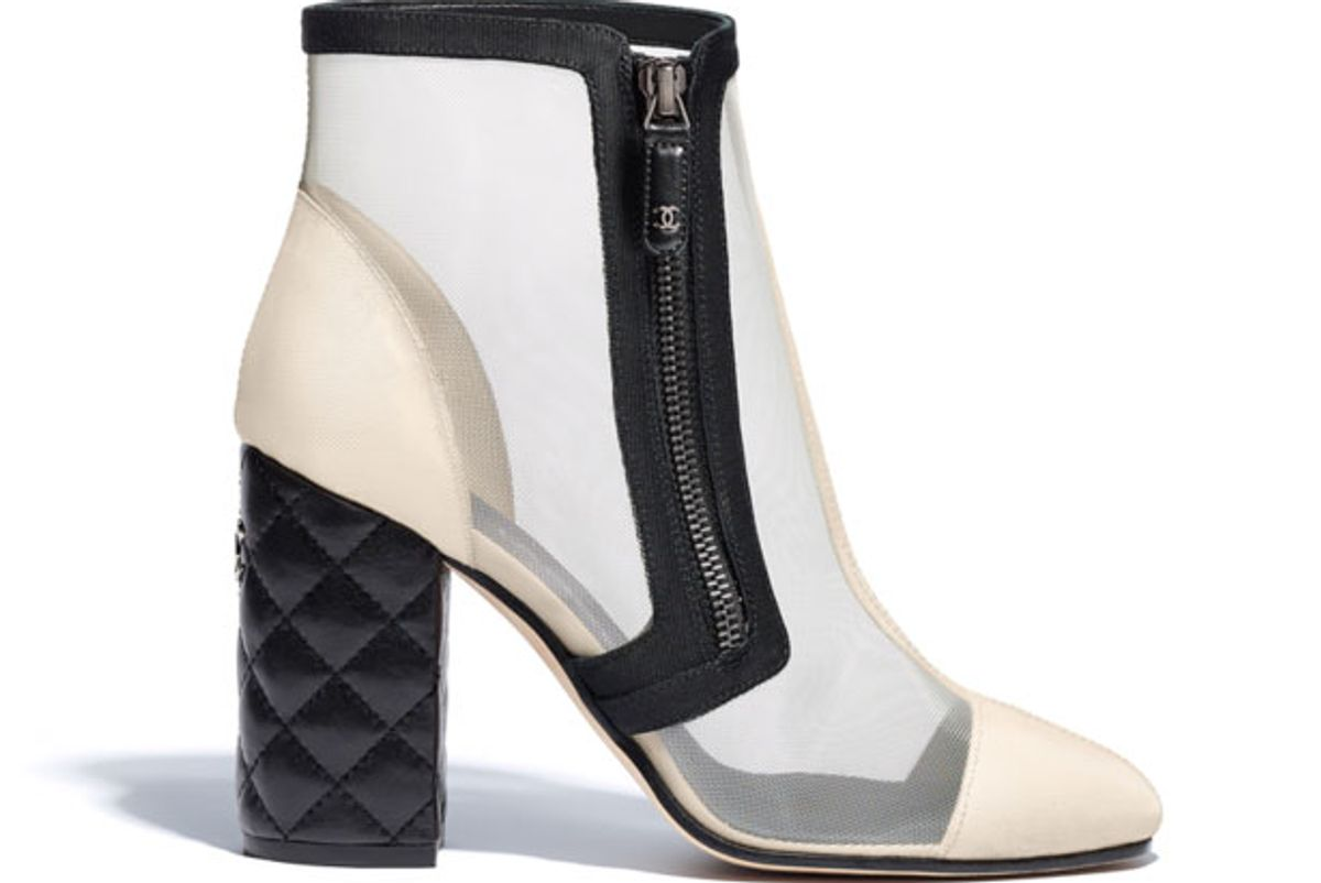 chanel mesh and grosgrain short boots