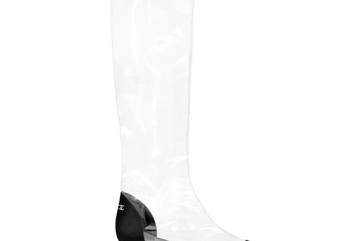 chanel transparent and black high boots