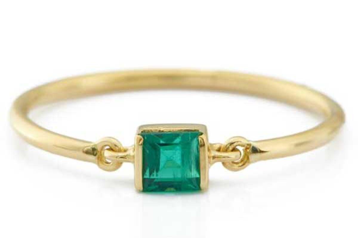 yi collection emerald petite circle ring