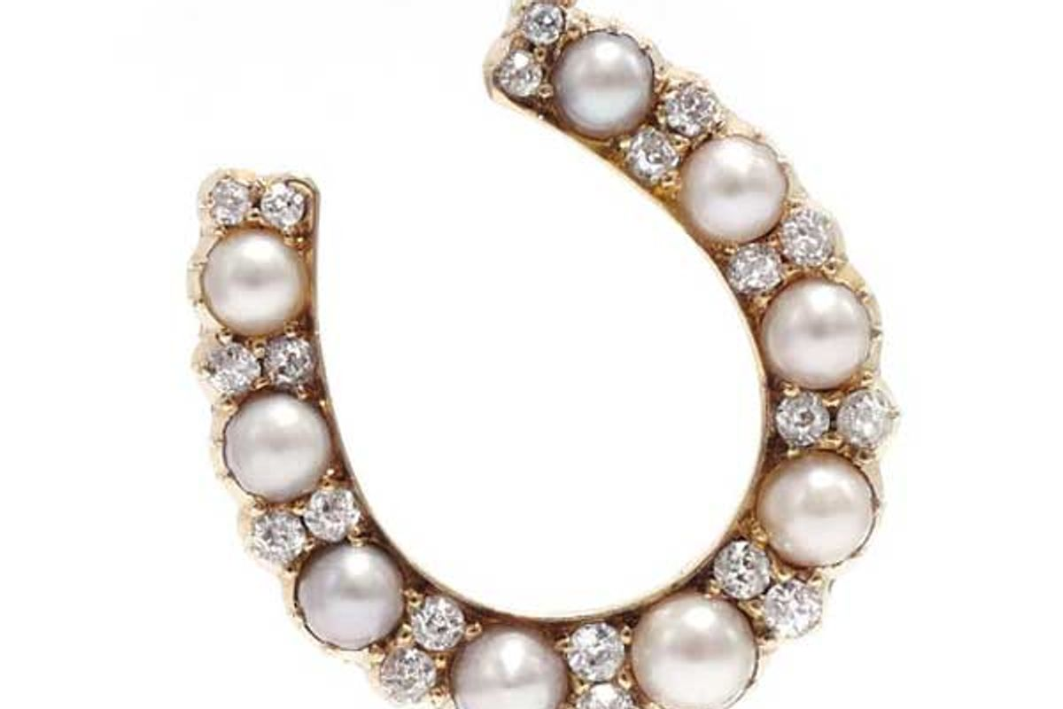ashley zhang victorian diamond and pearl horseshoe pendant