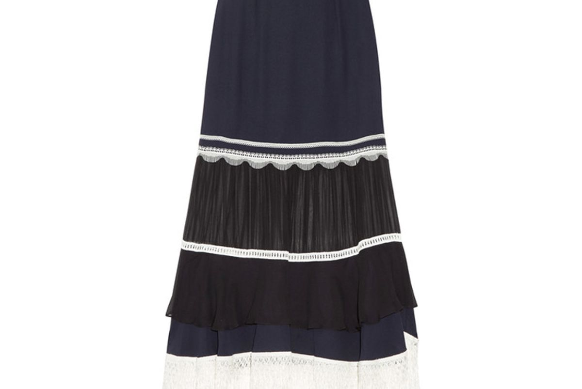 Embellished Paneled Chiffon and Silk-Crepe Midi Skirt