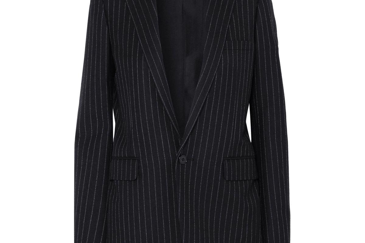 saint laurent pinstriped wool twill blazer