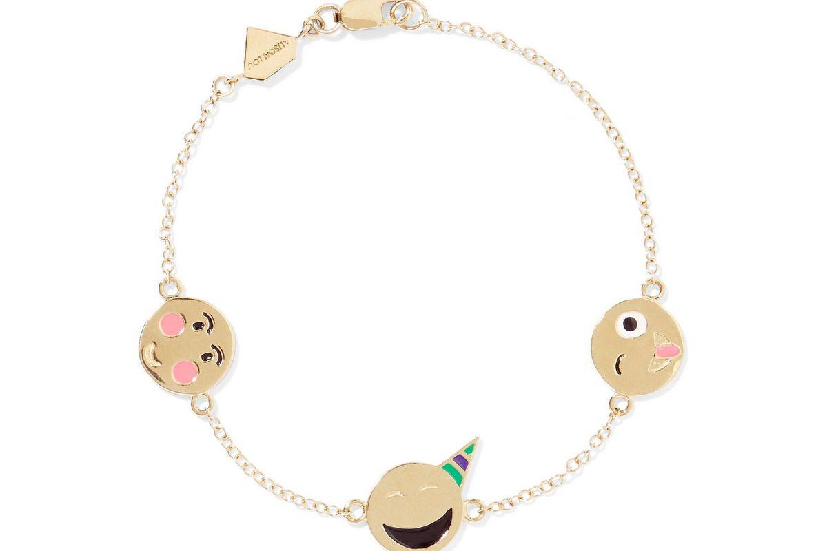 Celebration 14-karat gold enamel bracelet