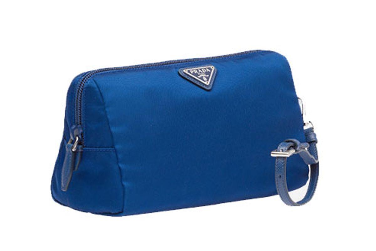 prada fabric cosmetic pouch in blue