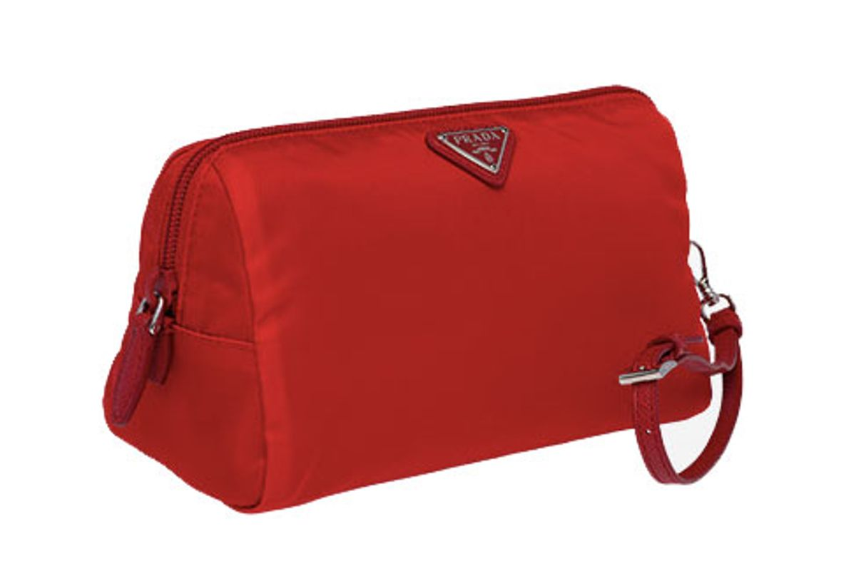 prada fabric cosmetic pouch in red