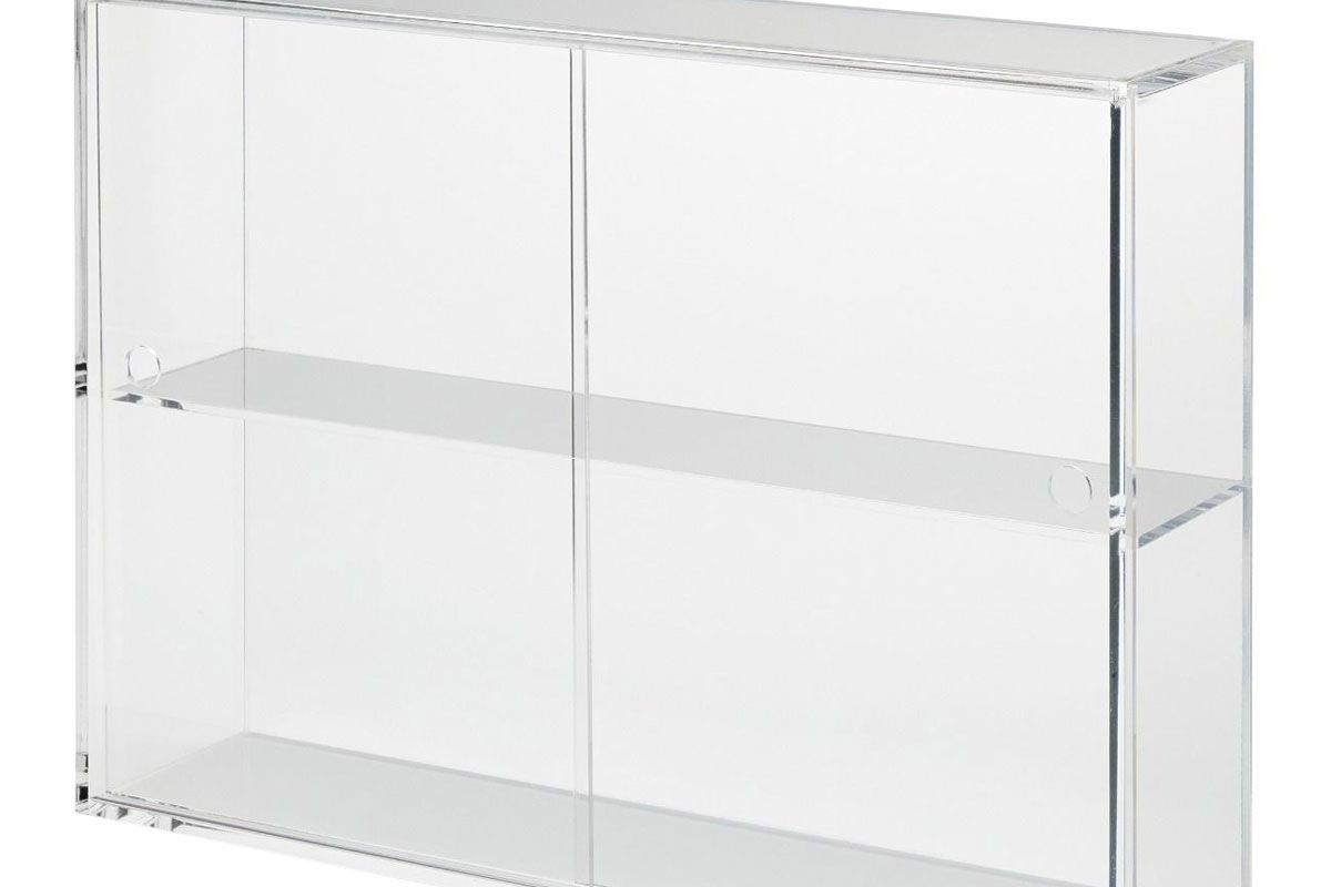 muji acrylic storage case with sliding doors
