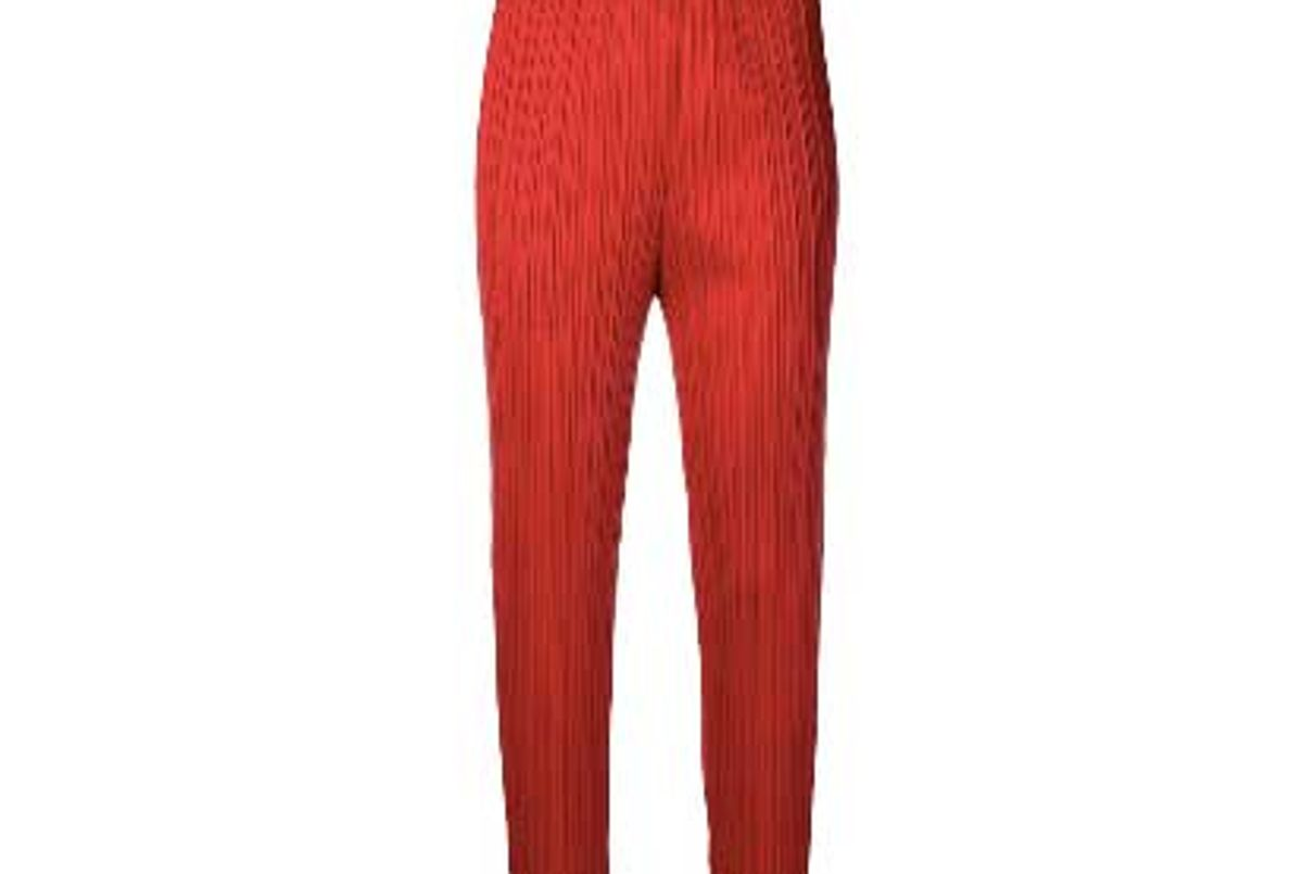 pleats please by issey miyake micro pleated high waist trousers