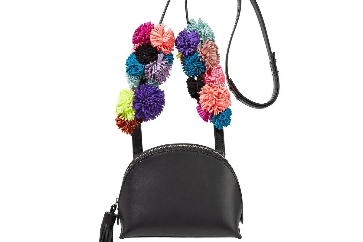 Suede-Trimmed Metallic Textured-Leather Shoulder Bag