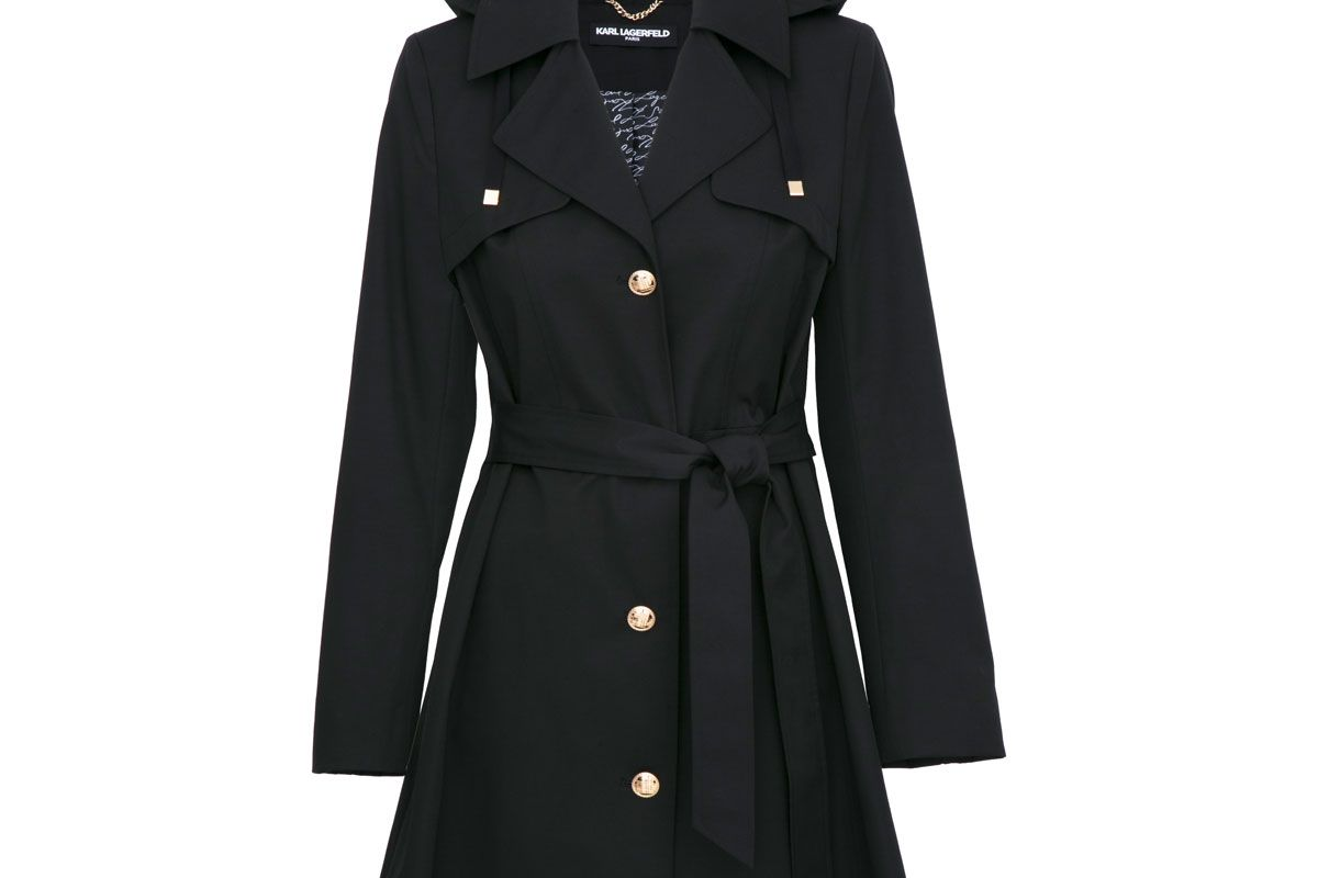 karl lagerfeld belted button front trench