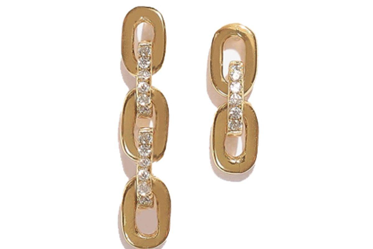 adorn monde santana gold 925 silver asymmetrical earrings