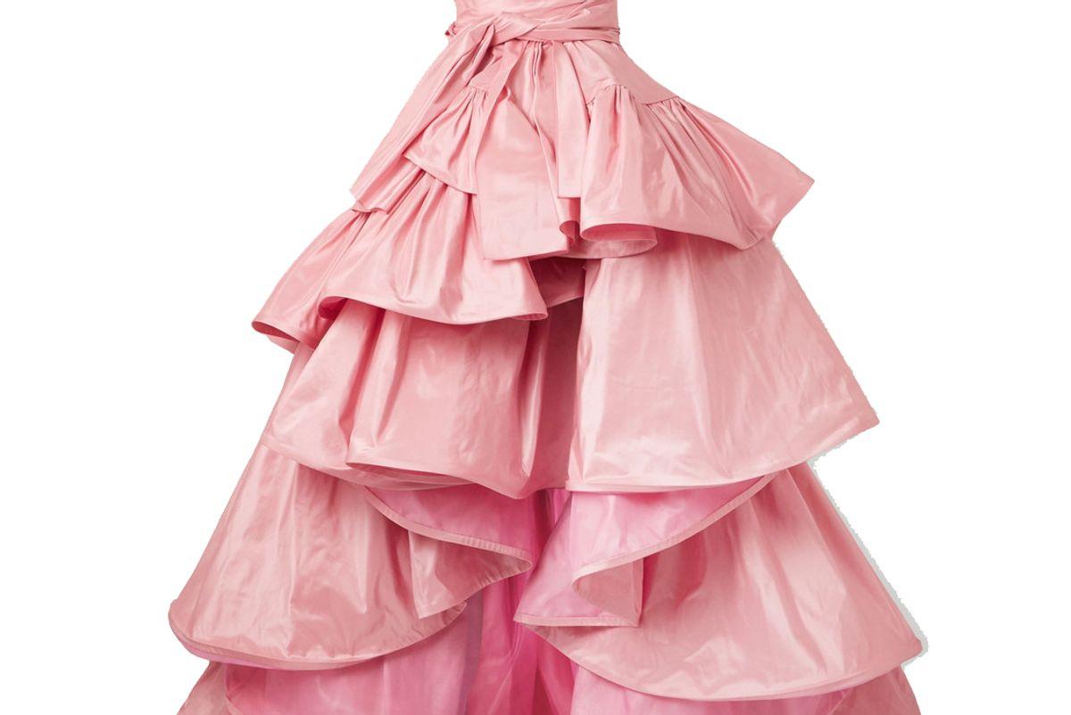 oscar de la renta ruffled asymmetric silk taffeta gown