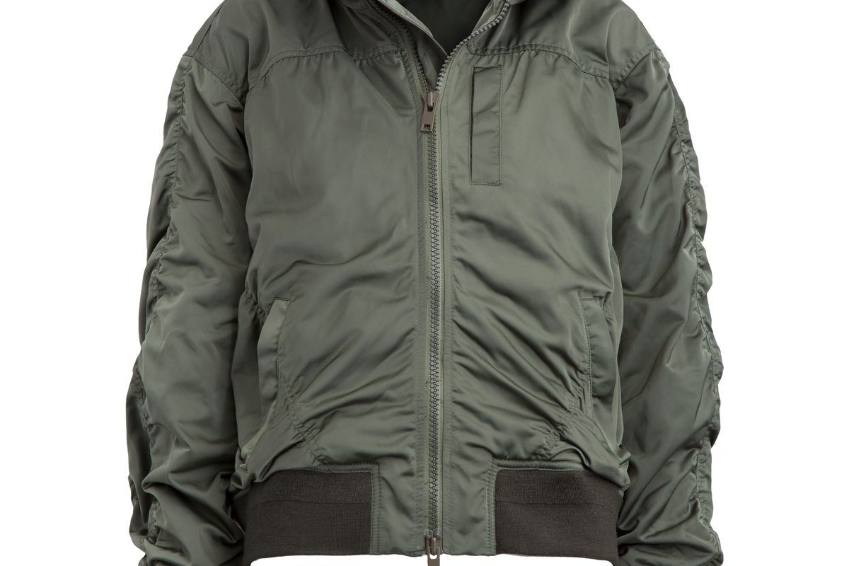 Hooded Gathered Shell Bomber