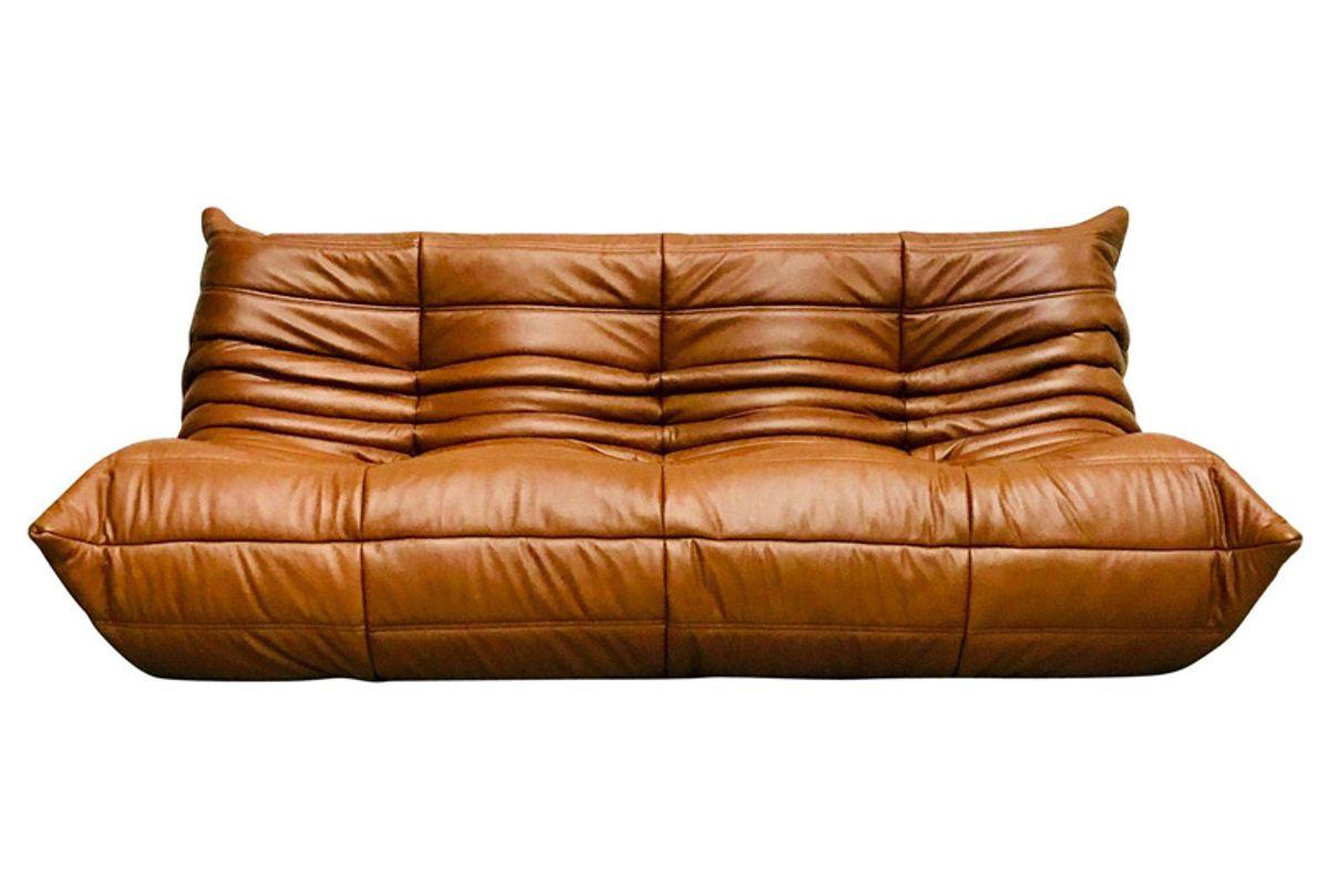 michel ducaroy for ligne roset togo sofa in dark brown cognac leather