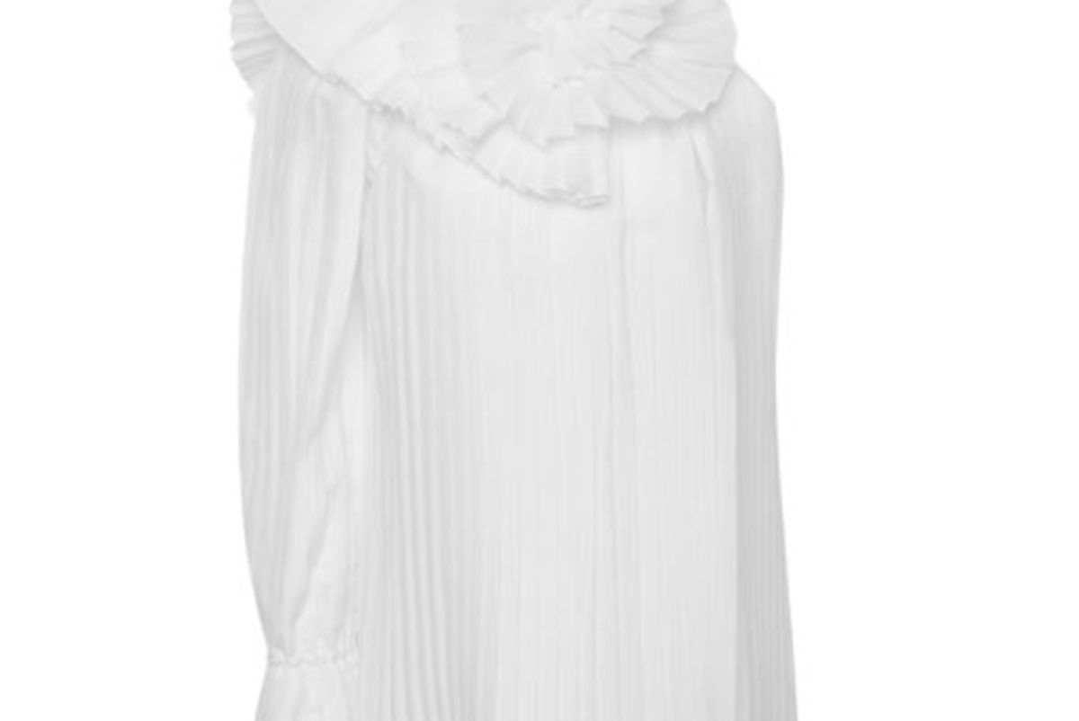 rosie assoulin pleated one shoulder psychlone top