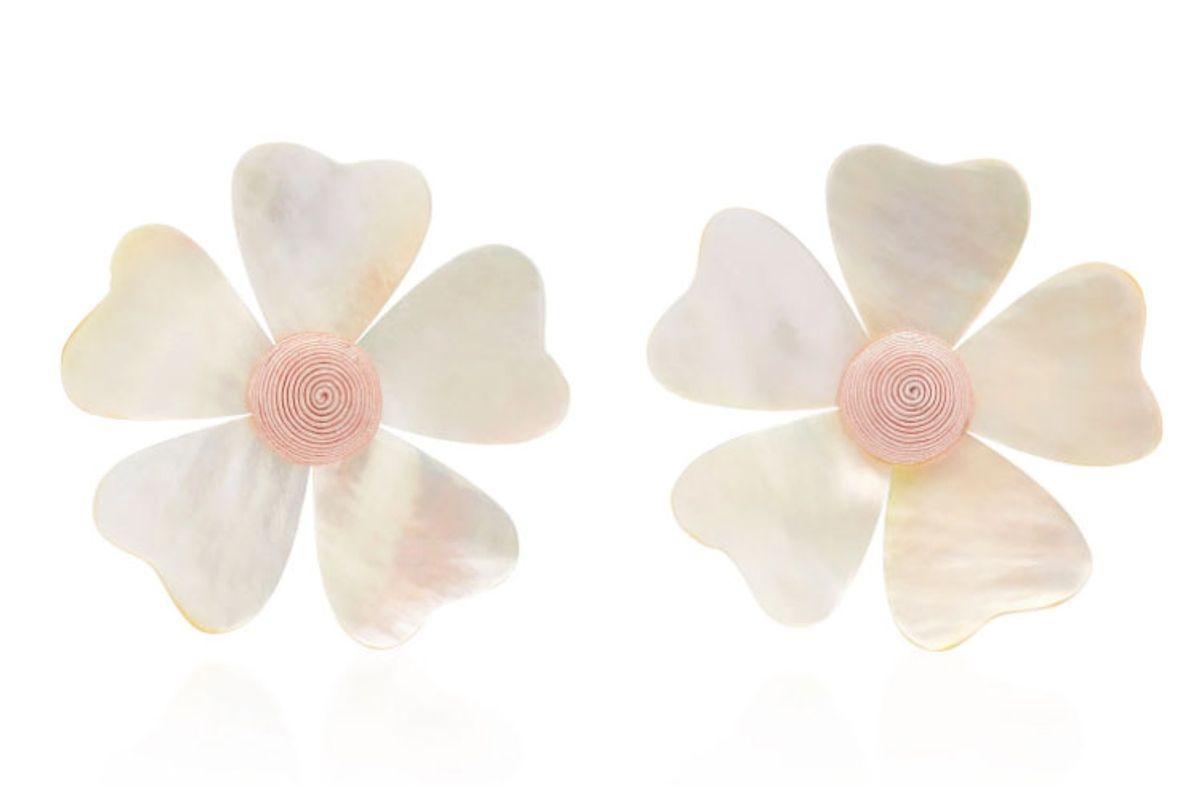 rebecca de ravenel mother of pearl flower earrings