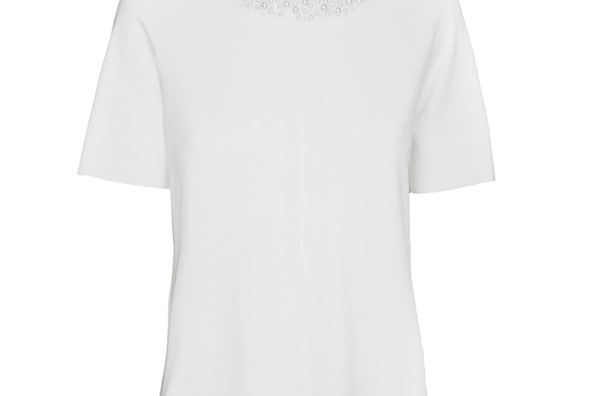 karl lagerfeld paris short sleeve pearl neck sweater
