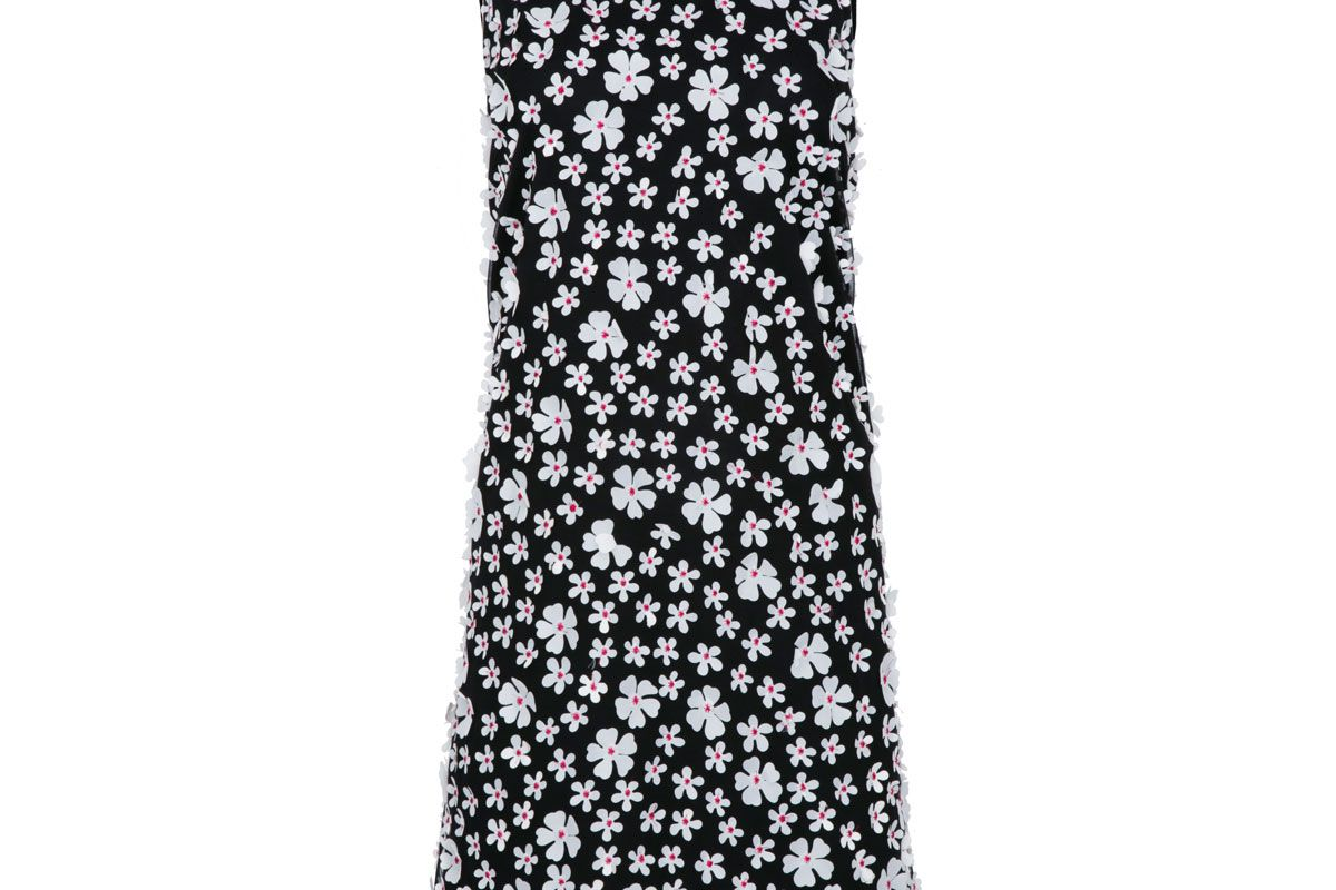 karl lagerfeld paris sleeveless dress with 3d applique overlay
