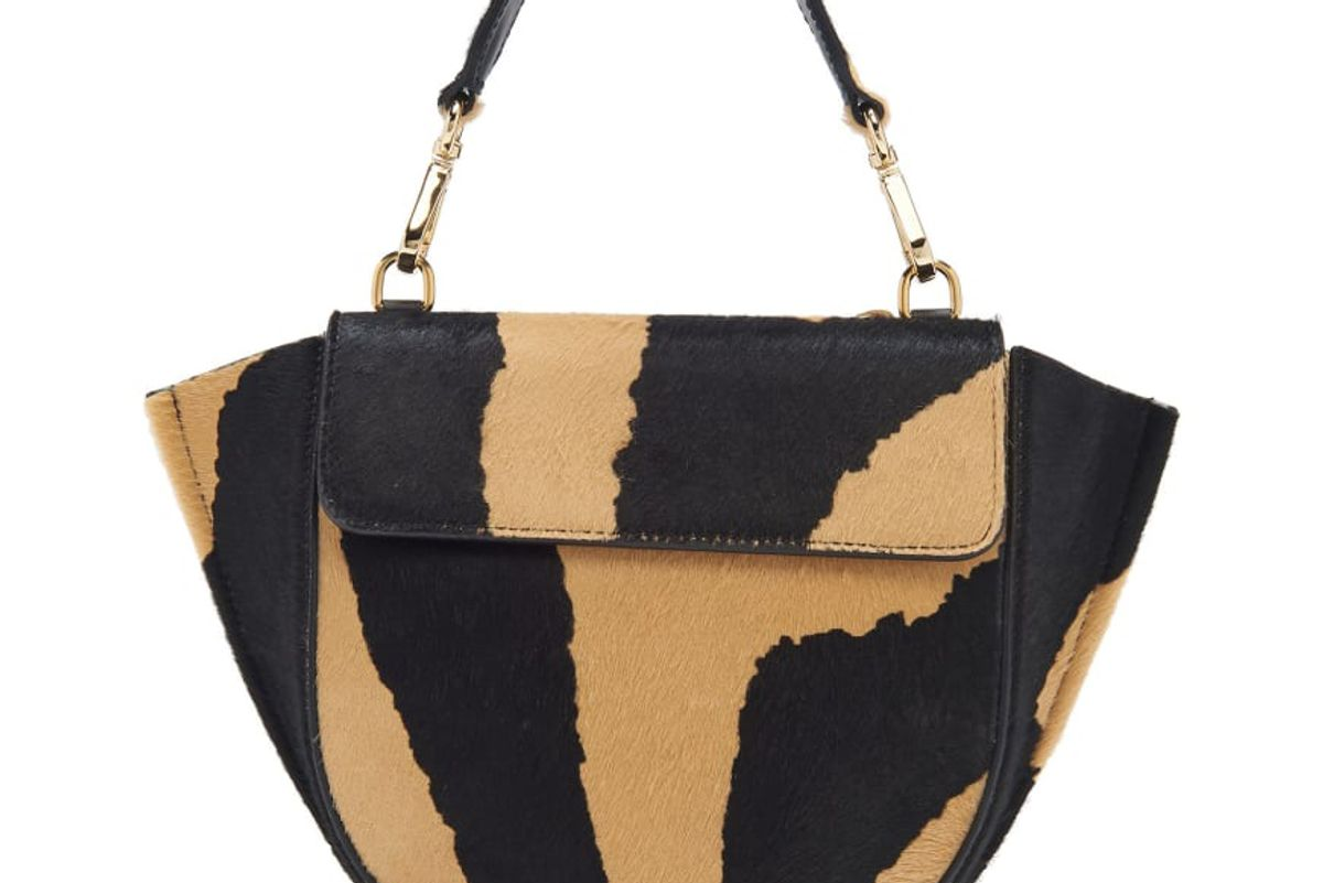 wandler hortensia mini zebra print calf hair shoulder bag