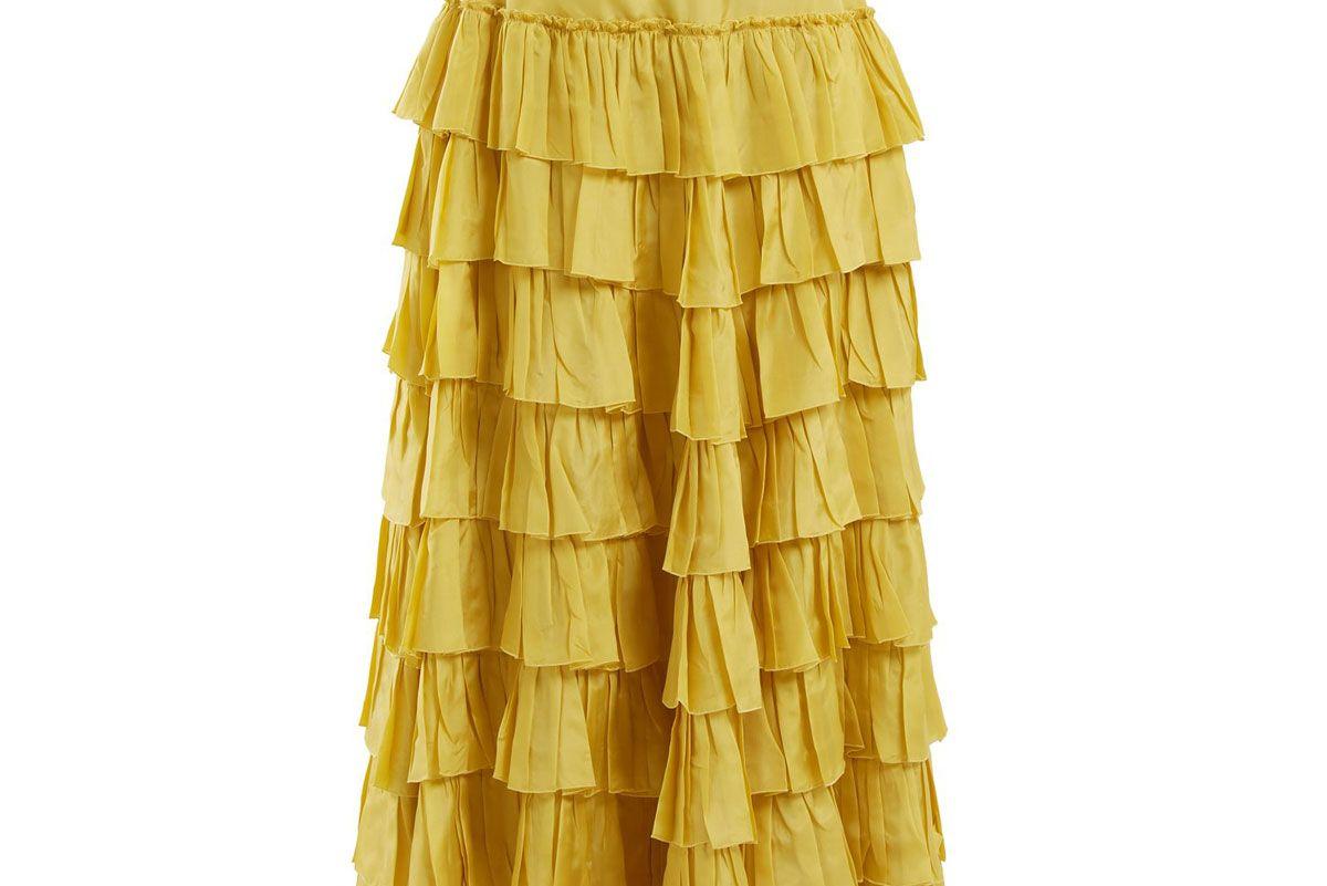 gucci ruffle tiered habotai silk skirt