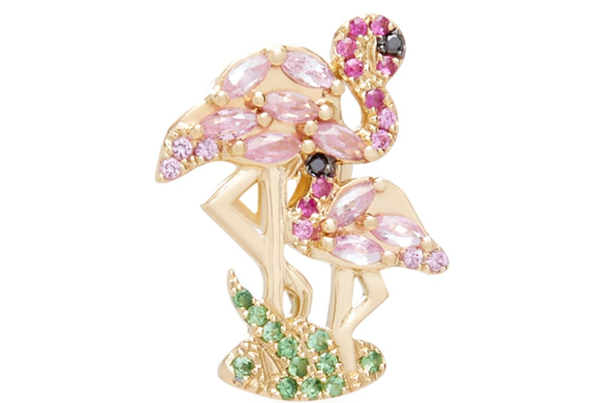 yvonne leon flamingo 18k gold diamond and tsavorite earring