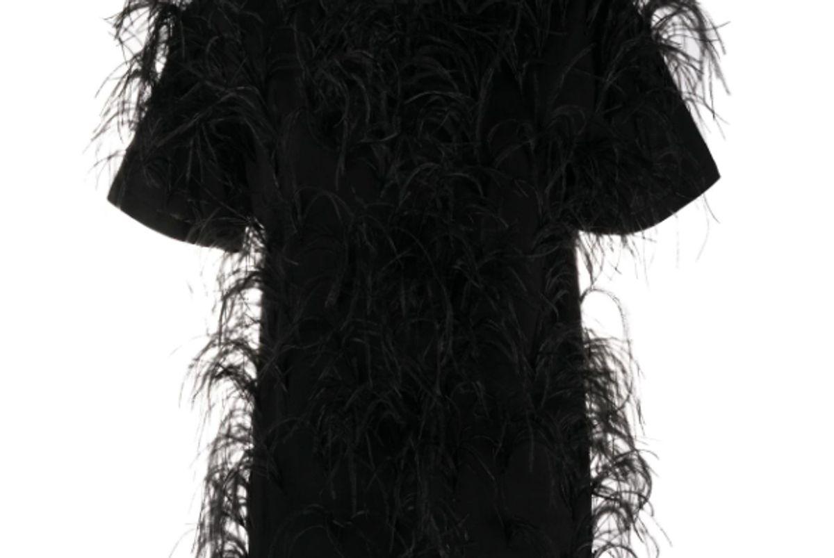 valentino feather embellished short sleeved t shirt