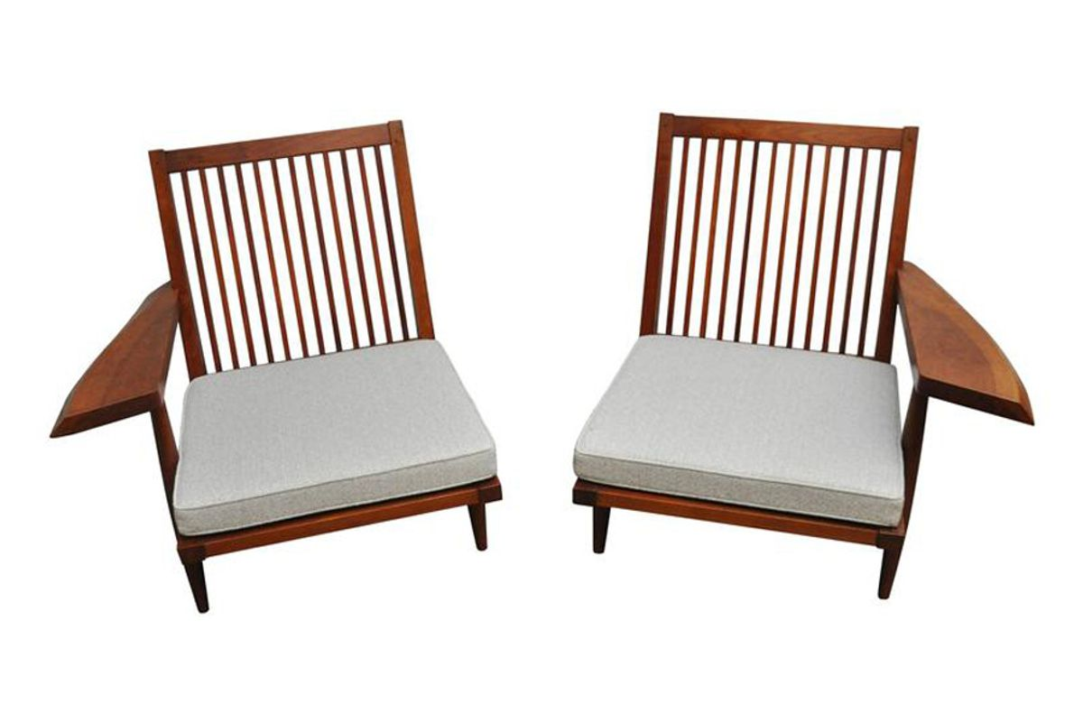 Cherry Spindle Back Lounge Chairs