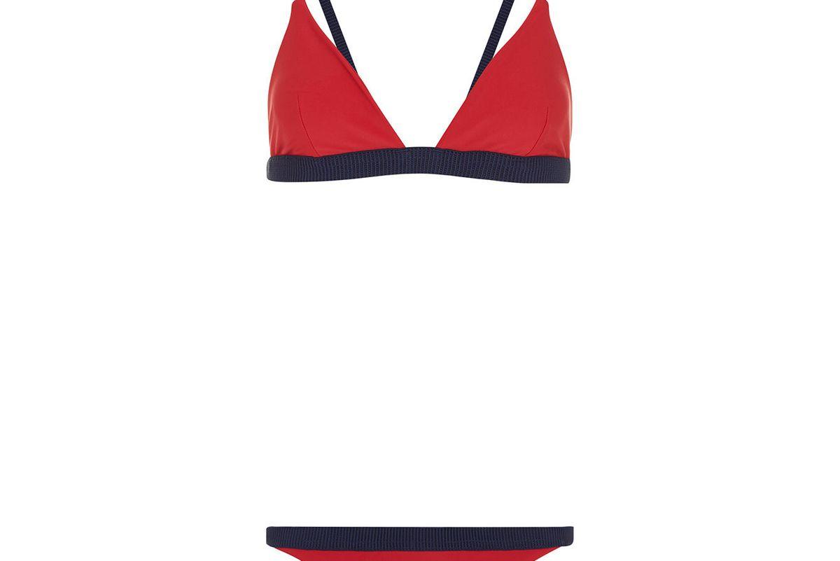Apple Red Shimmy Triangle Bikini