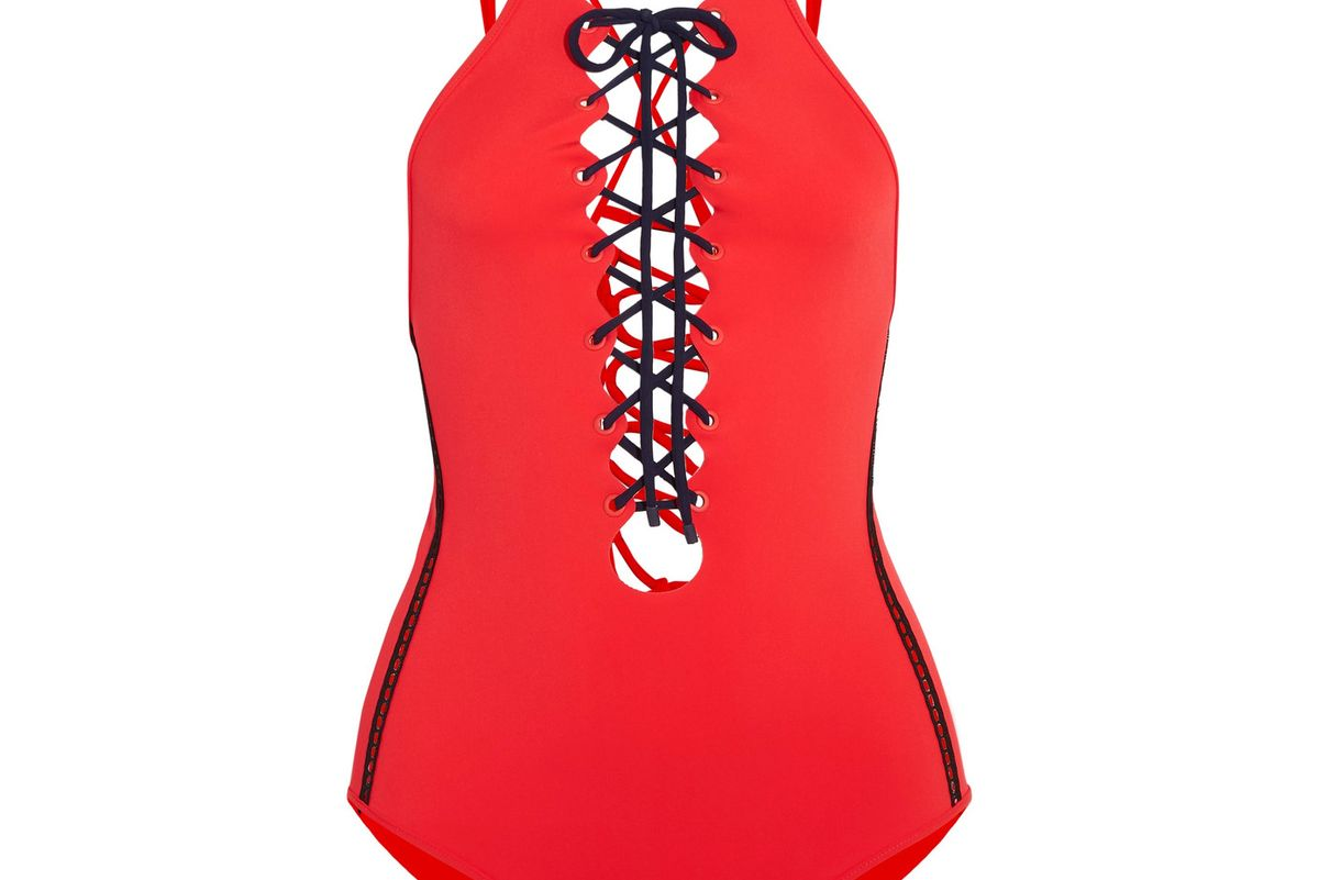 Mesh-Trimmed Lace-Up Swimsuit