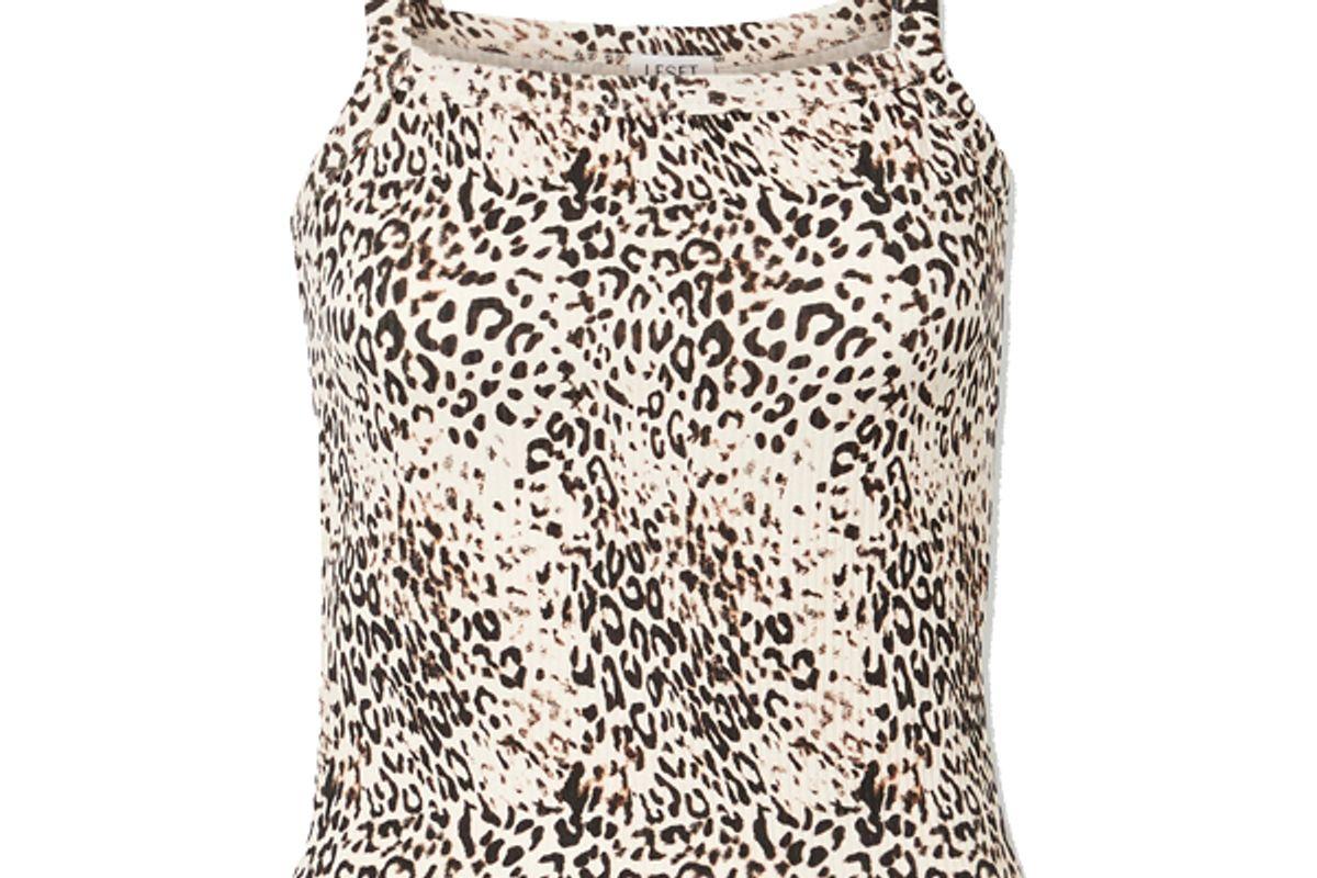 leset jamie cheetah square neck tank black