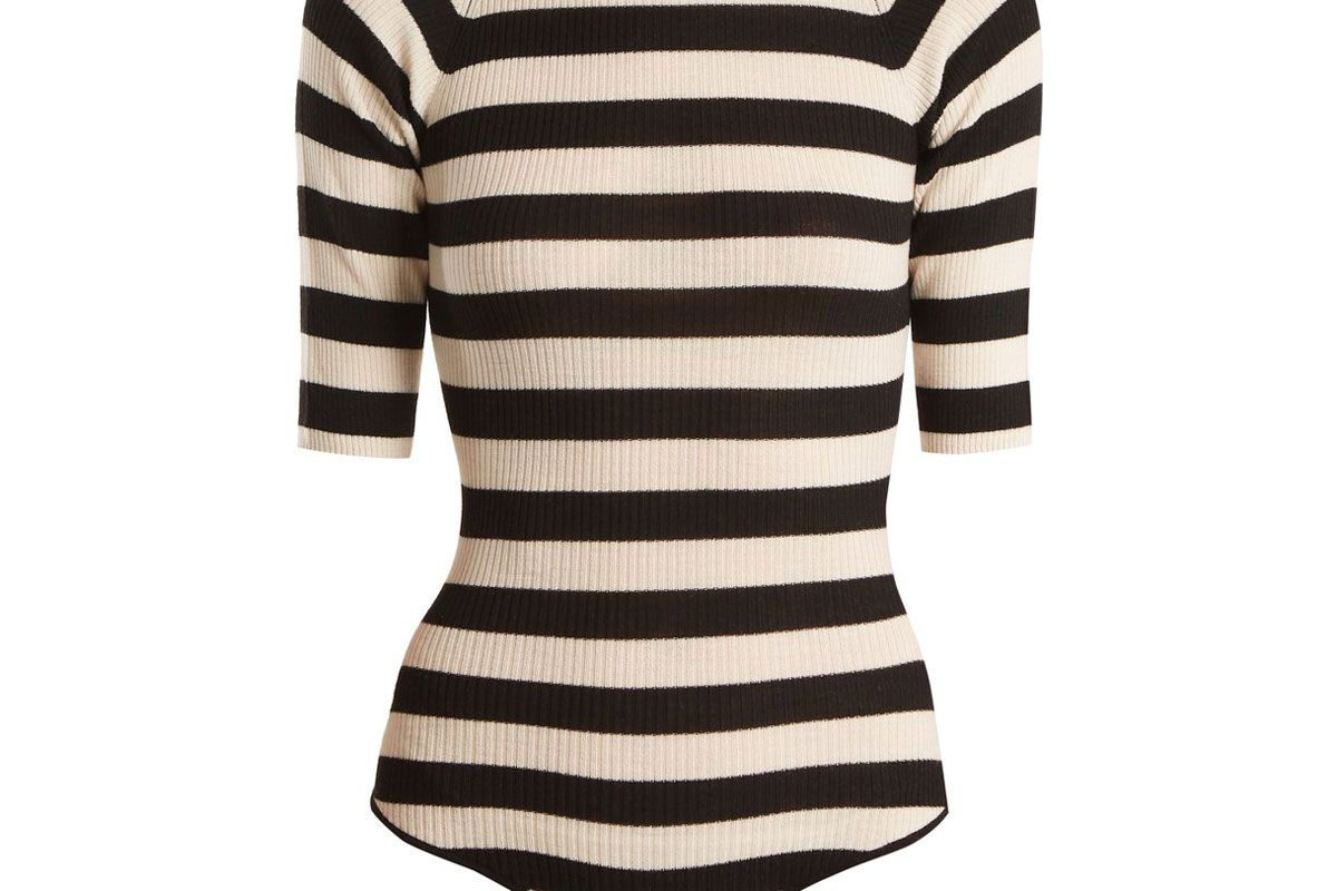khaite constance striped ribbed knit wool blend bodysuit