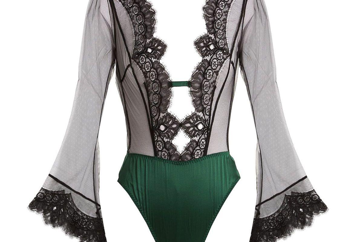 coco de mer discotheque lace trimmed bodysuit