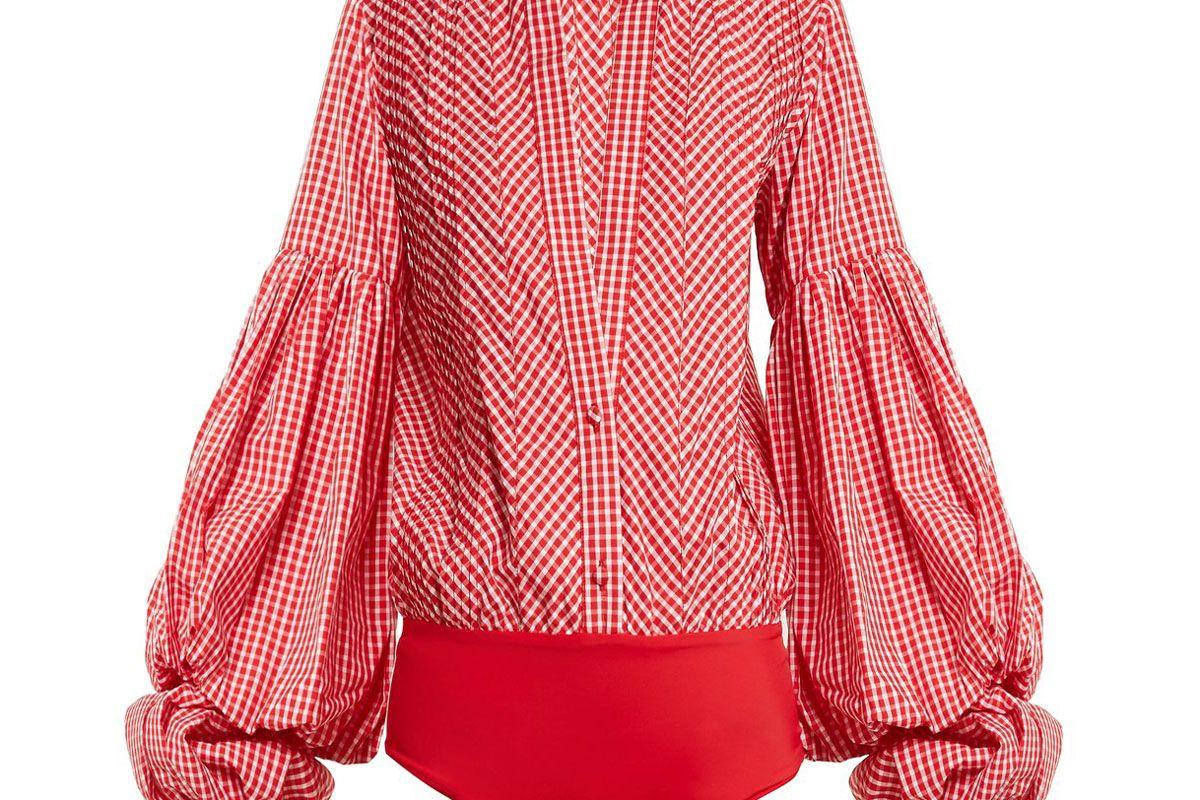 johanna ortiz jucarilla ballon sleeve cotton gingham bodysuit