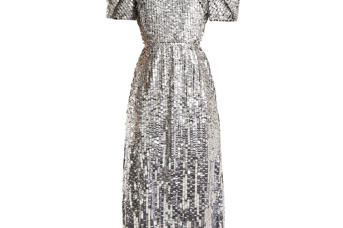 carolina herrera open back sequined tulle gown