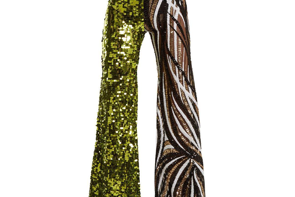 halpern sequin embellished high rise flared trousers