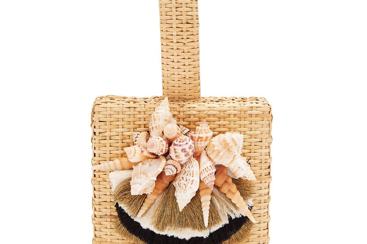 sanayi 313 iris seashell embellished straw box bag