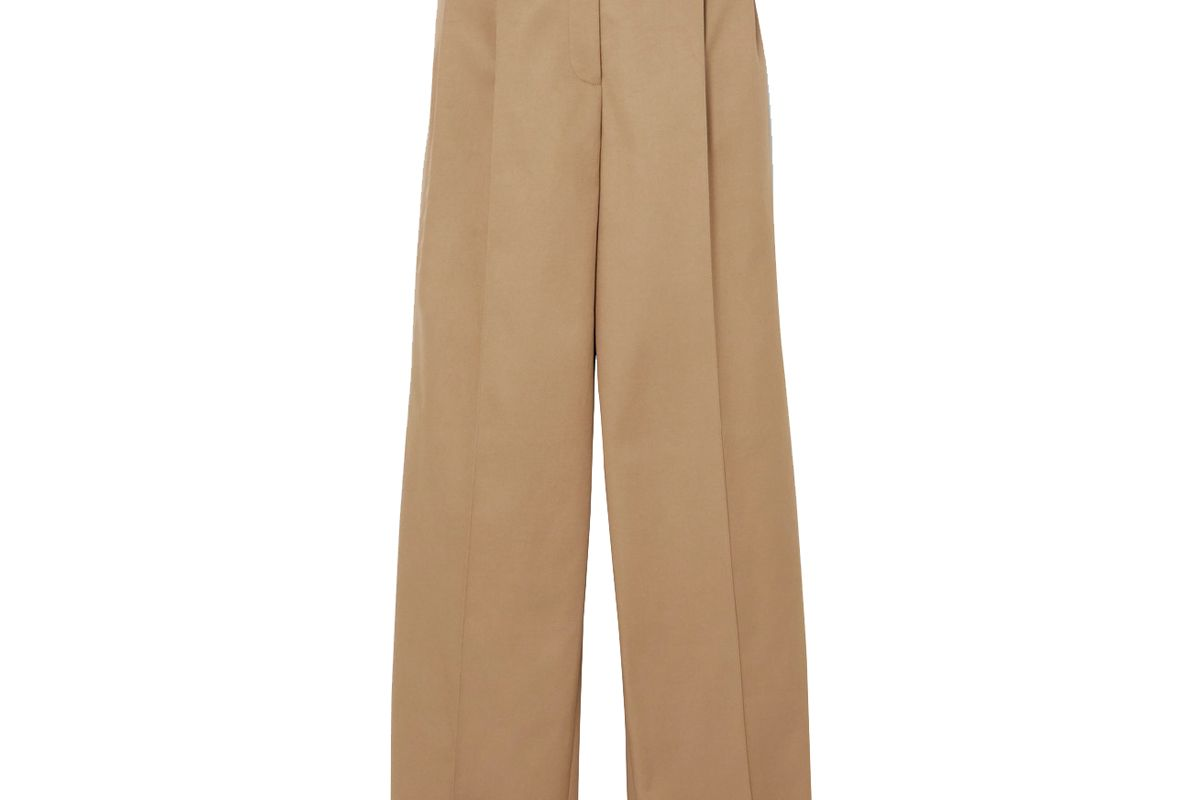 peter do pleated cotton twill wide leg pants