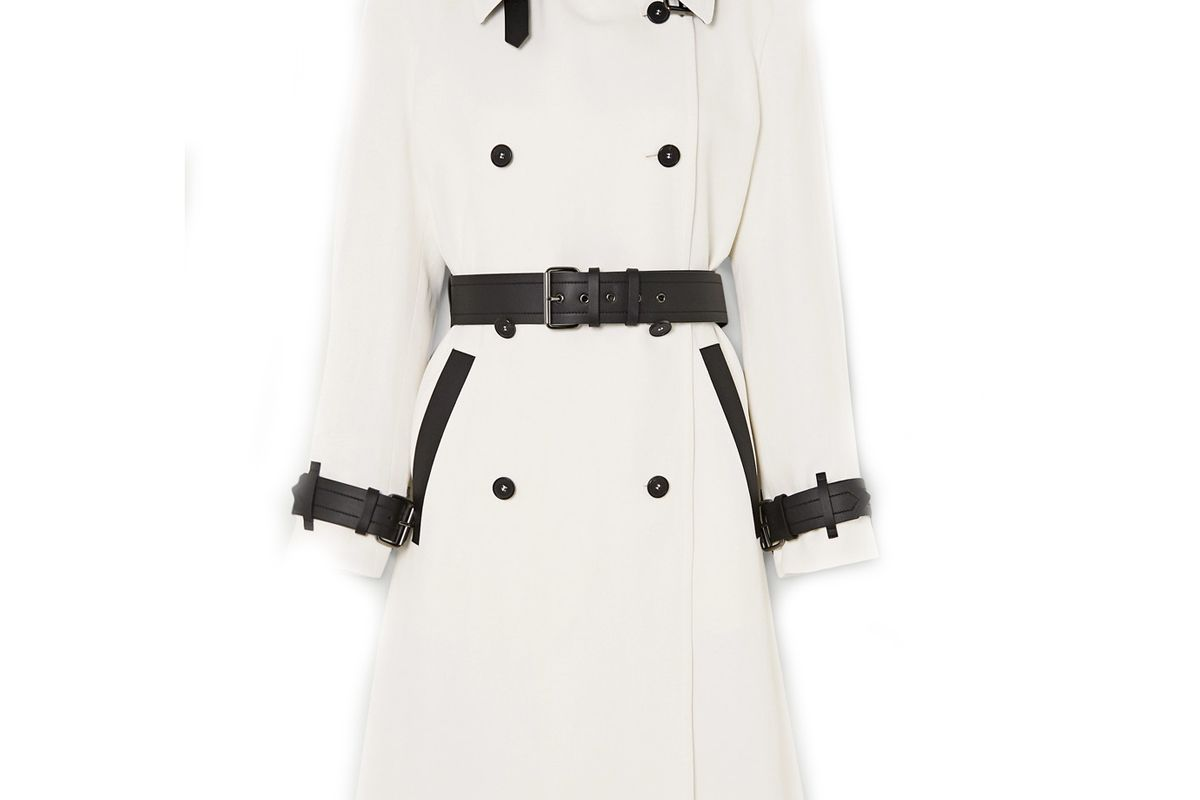 tom ford two tone leather trimmed canvas trench coat