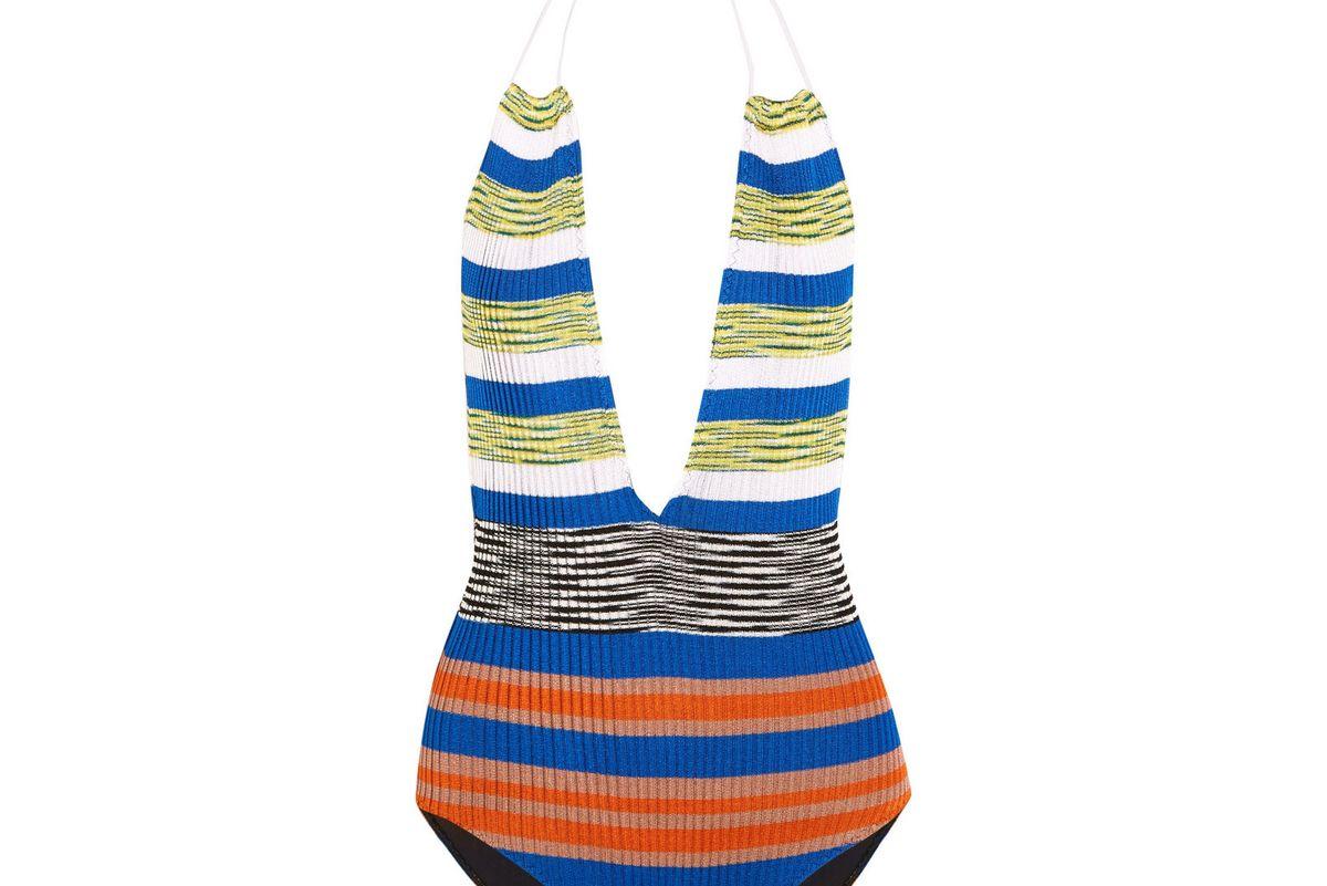 Mare cutout striped crochet-knit halterneck swimsuit