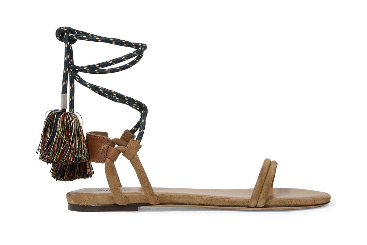 Astrid tasseled leather-trimmed suede sandals