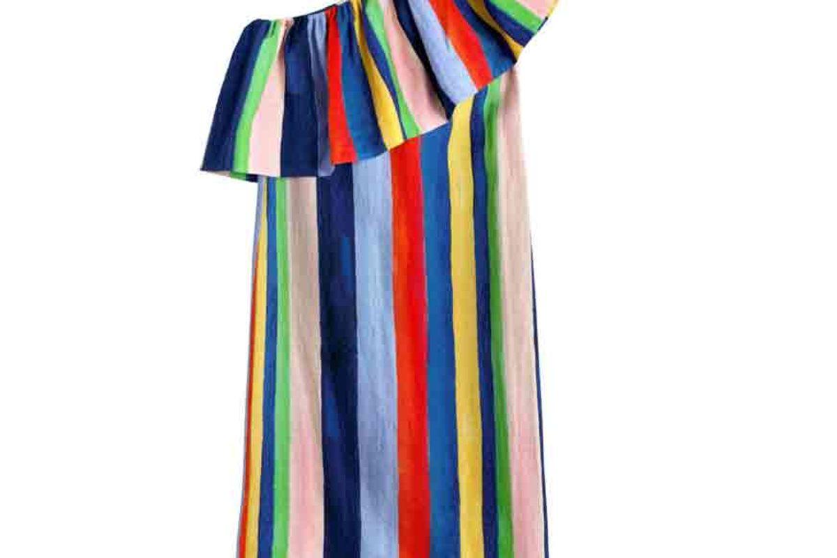 Rainbow Stripe One Shoulder Midi Dress