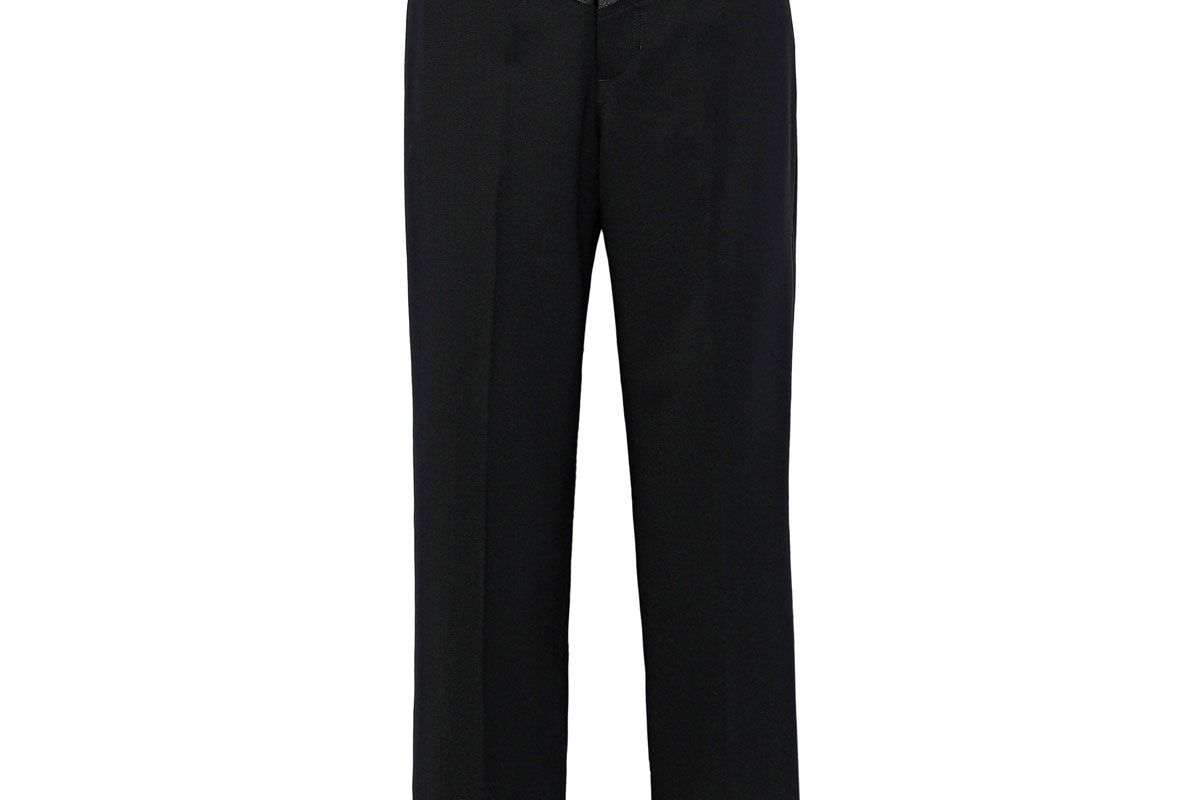 helmut lang cropped leather paneled wool blend straight leg pants