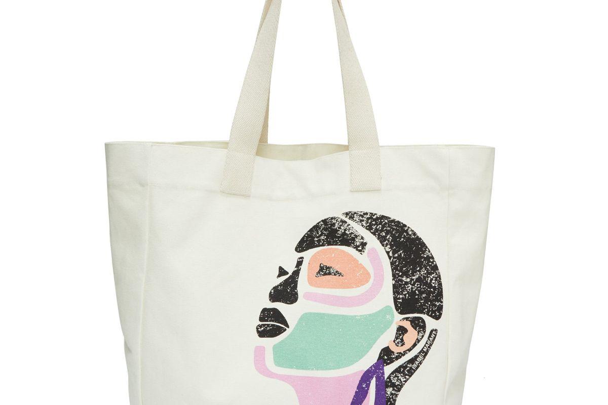 isabel marant face print canvas tote bag