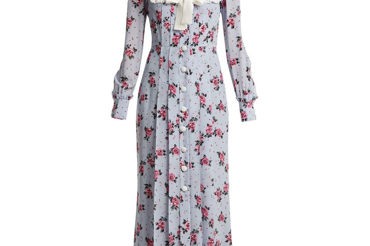 alessandra rich rose print frill trimmed silk dress