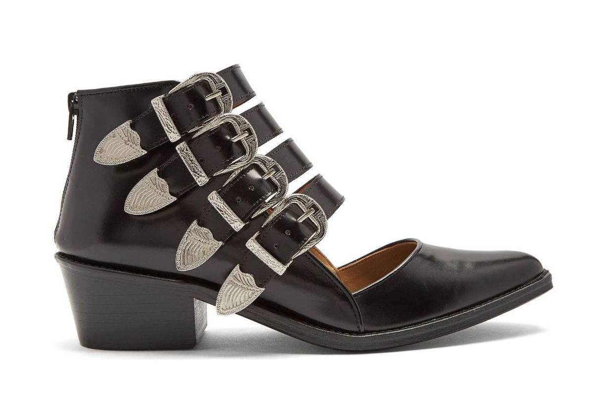 toga point toe cut out leather ankle boots