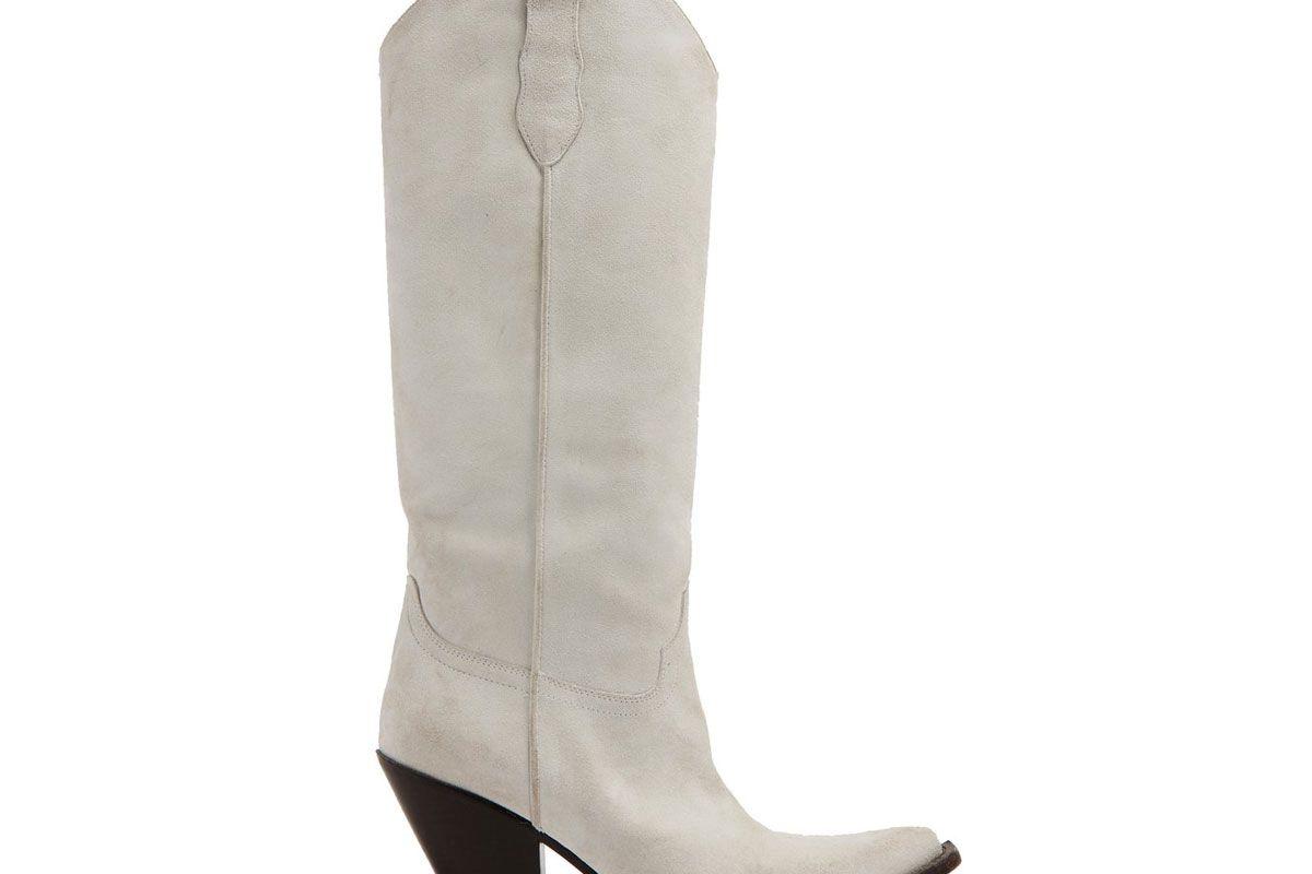 maison margiela western suede knee high boots