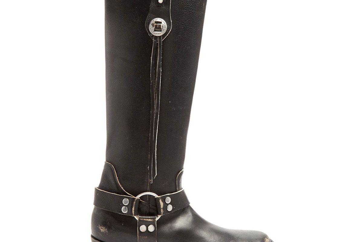 balenciaga santiago distressed leather knee high boots