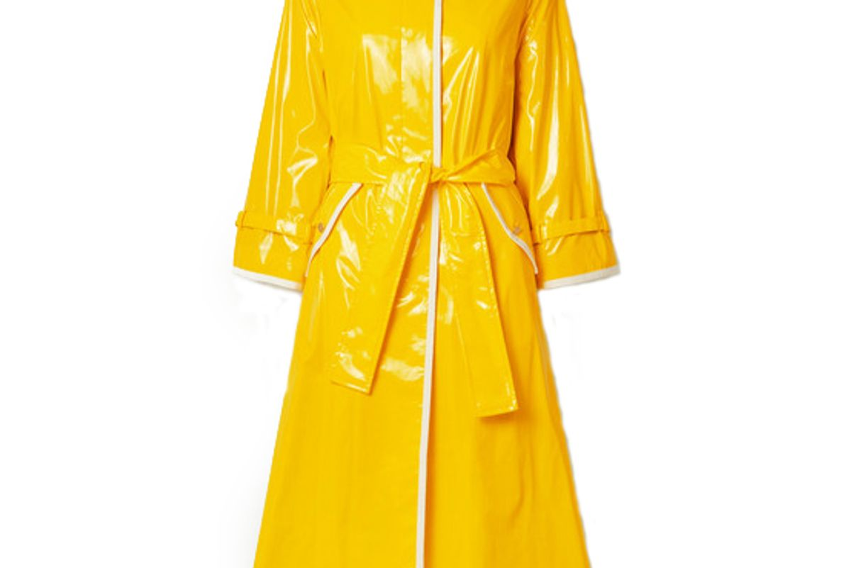 thom browne glossed pu trench coat
