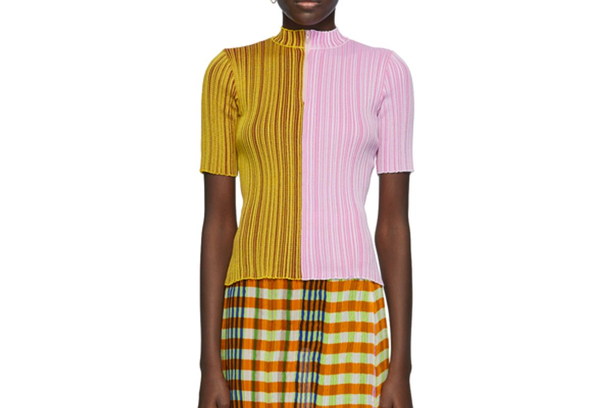 julia heuer ginger knit top in yellow and pink