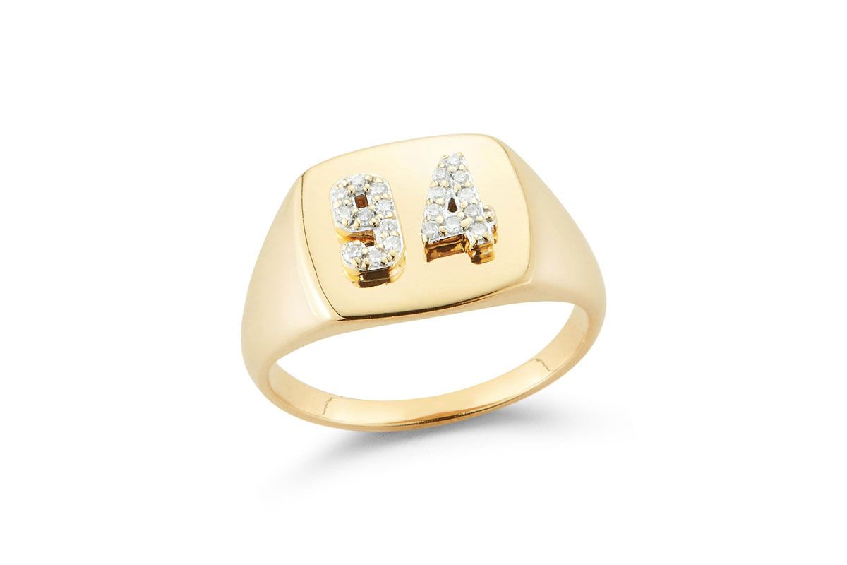 stone and strand double pave number signet ring